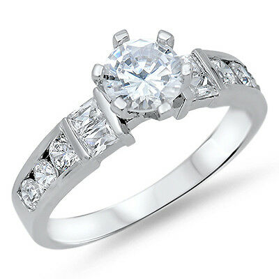 1.5CT ROUND CZ CHANNEL SET BAGUETTE .925 Sterling Silver Ring SIZES 5-10