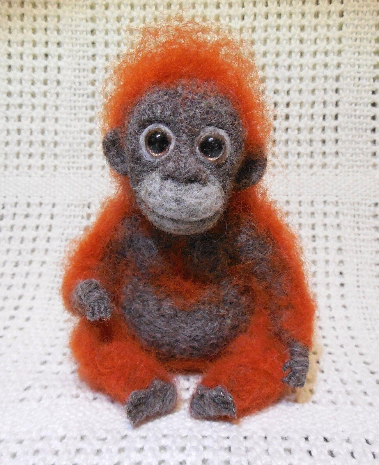 Mjuk leksak Monkey Cut Orangutan Miniatyr Feled Merino Natural Wool Elite Gift