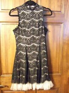 NWT ~ THREE PINK HEARTS black lace dress w  nude blush lining formal ... 88942326ea