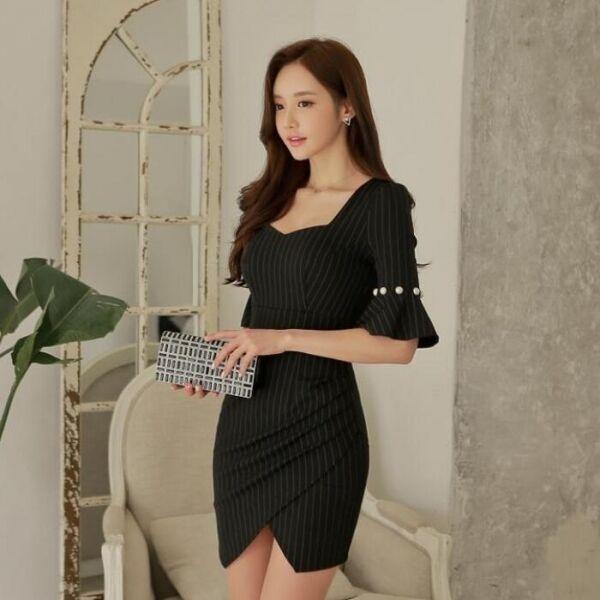 Elegante raffinato raffinato raffinato vestito abito tubino  donna nero  gessato aderente slim  3468 cbc2e1