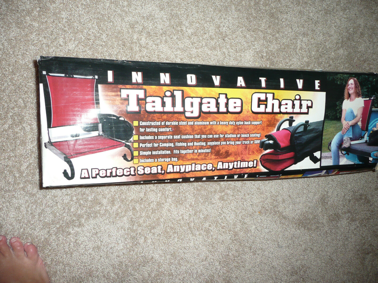 NEW  INNOVATIVE TAILGATE CHAIR RED COMPACT CAMPING HIKING KIDS GAMES FISH HUNT  shop online today