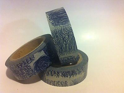 WASHI TAPE BLUE SCRIBBLE 15MM WIDE X 10MTR ROLL SCRAPBOOKING CRAFT WRAP