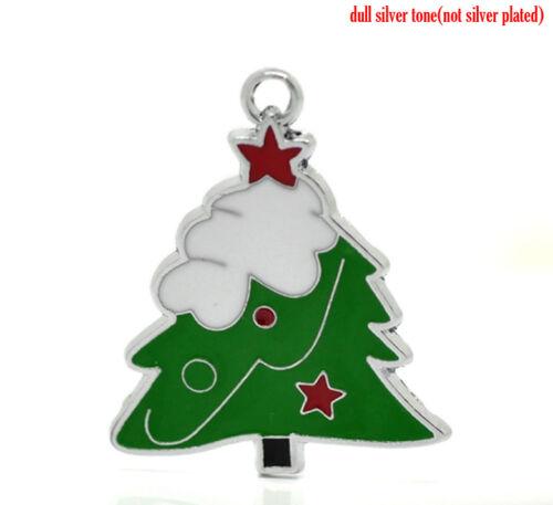 arrière Pendentif 37x31mm embellissements 2 silver tone émail arbre de Noël charmes
