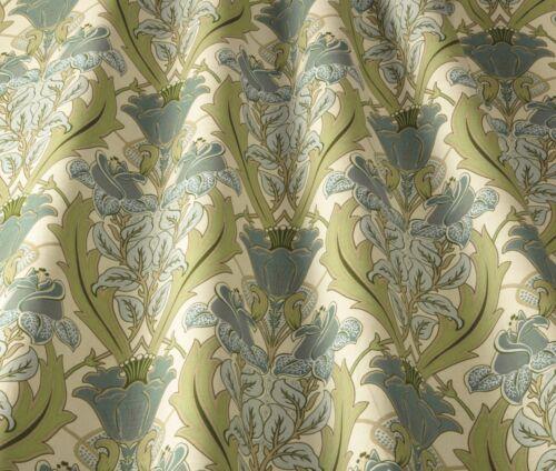 William Morris Style Curtain//Uphol Fabric iliv  Art Deco Acanthus Cornflower