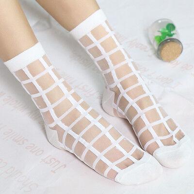 Womens Girls Silk Ruffle Lace Ankle Socks Ultrathin Sheer Cotton Elastic Hosiery