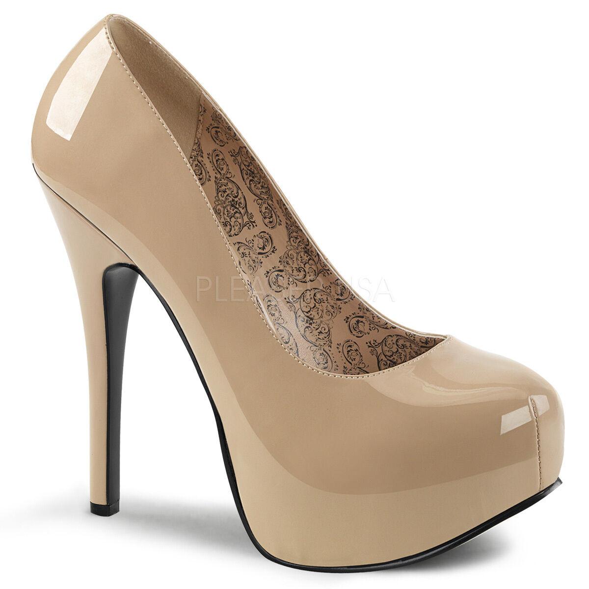 PLEASER Sexy WIDE WIDTH shoes Hidden Platform Stiletto Heel Cream Patent Pumps