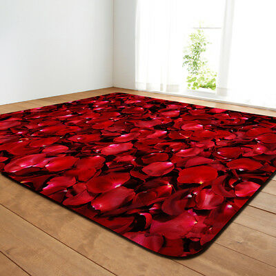 3d Red Rose Petal Rug Carpet None Slip Ebay