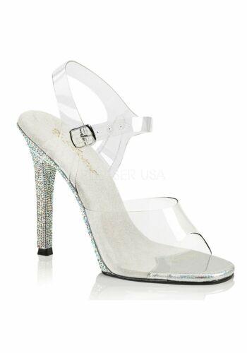 4 1//2 Inch Heel Ankle Strap Sandal With Rhinestone
