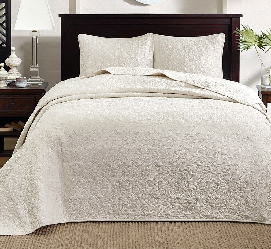 IVORY MATELASSE 3pc Queen BEDSPREAD SET   COTTON FILL QUILT COVERLET BEDDING