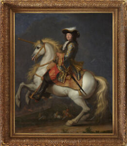 Old Master Art Portrait Man Louis XIV King Oil Painting on Canvas Unframed 30x40