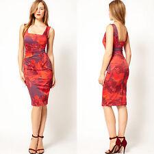New Karen Millen Dress Floral Print Satin Bodycon Pencil Red Purple UK Size 6 34