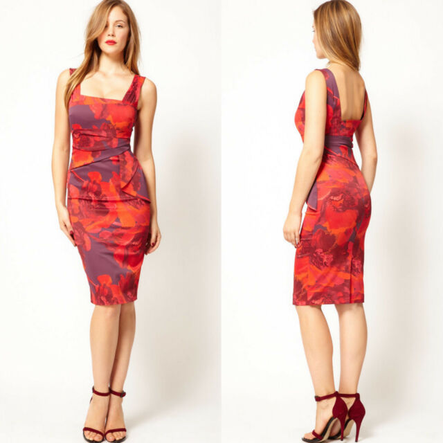 887389470dd New Karen Millen Dress Floral Print Satin Bodycon Pencil Red Purple UK Size  6 34