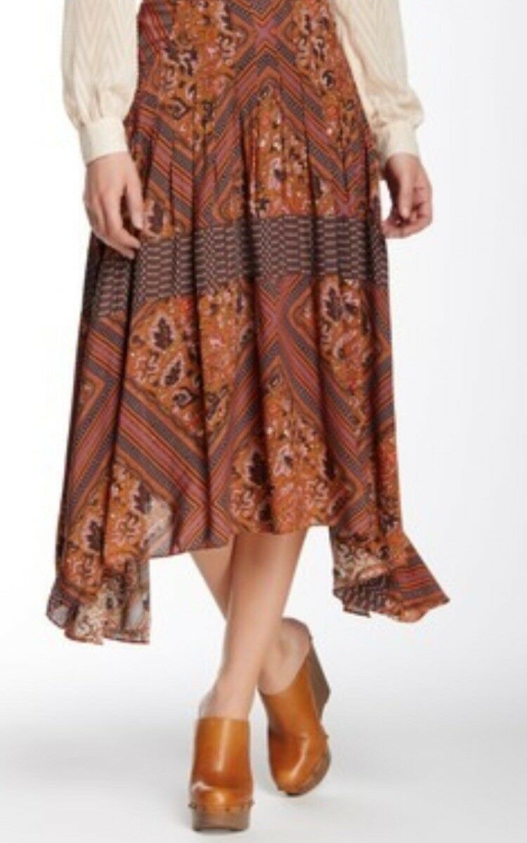 Free People Amber Combo Paradise Midi Skirt 8 NWT MSRP  128