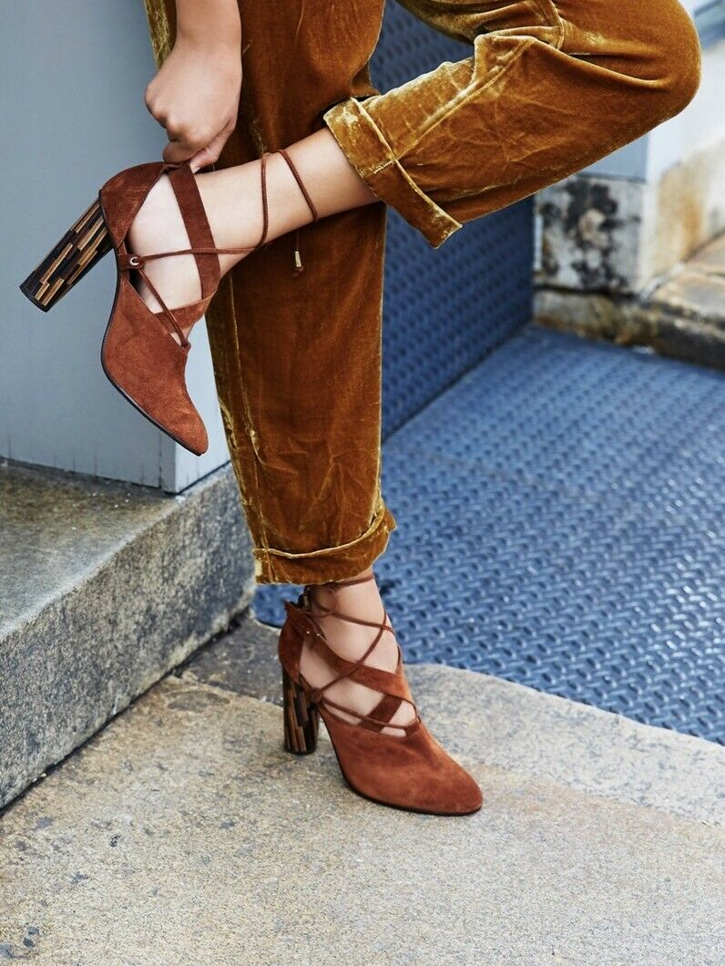 NEW FREE PEOPLE Sz 8 38 NOUVELLA SUEDE WRAP WOODEN WOODEN WOODEN LACE UP HEELS marron  178 b46cd4