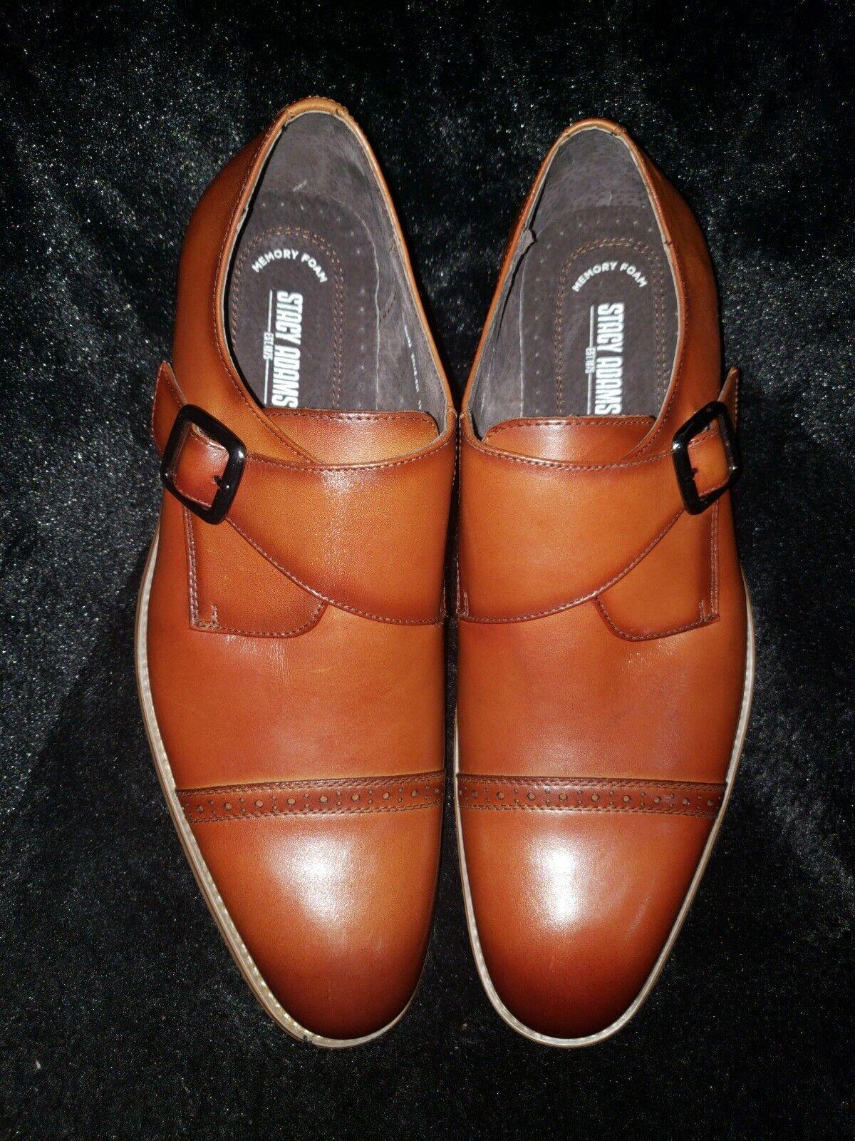 Stacy Adams Desmond Mens shoes Cap Toe Monk Strap Cognac Leather 25162-221 11.5