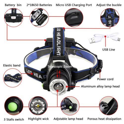 150000Lumen T6 LED Zoomable Headlamp USB Rechargeable 18650 Headlight Head Torch