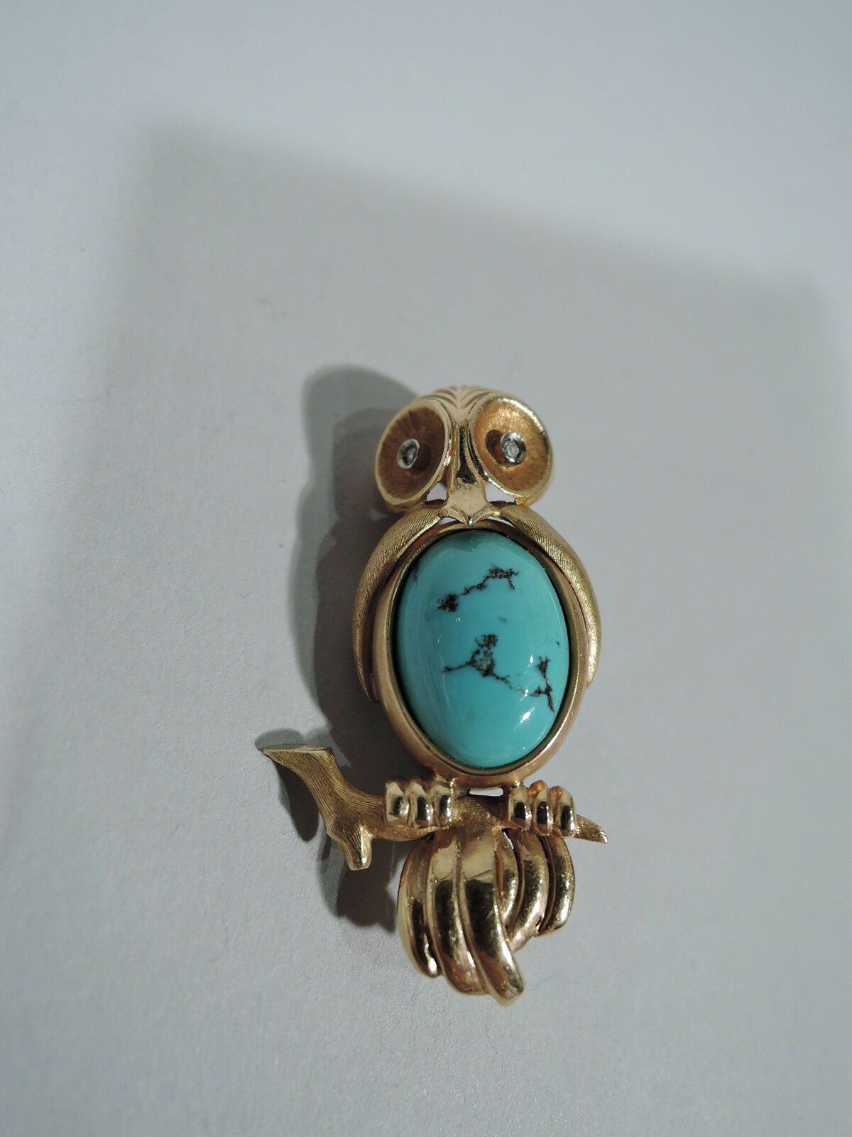 Antique Brooch - Art Deco Modern Wise Owl Pin - American 18K gold & Turquoise