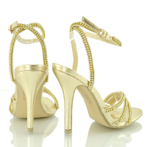 Zapatos De Fiesta para Mujer Correa De Tobillo Tacón Stiletto Señoras Diamante Peep Toe Sandalias
