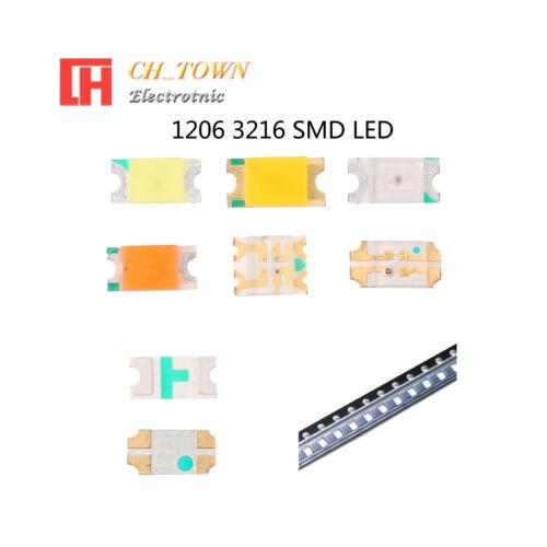 50 100pcs 1206 3216 SMT SMD LED Emitting Diodes White Blue RGB Light Lamp Bulb