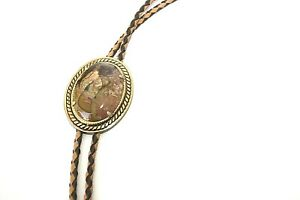 Vintage-Petrified-Wood-Bolo-Tie-Braided-Leather-Cord-Rodeo-Western-Southwest