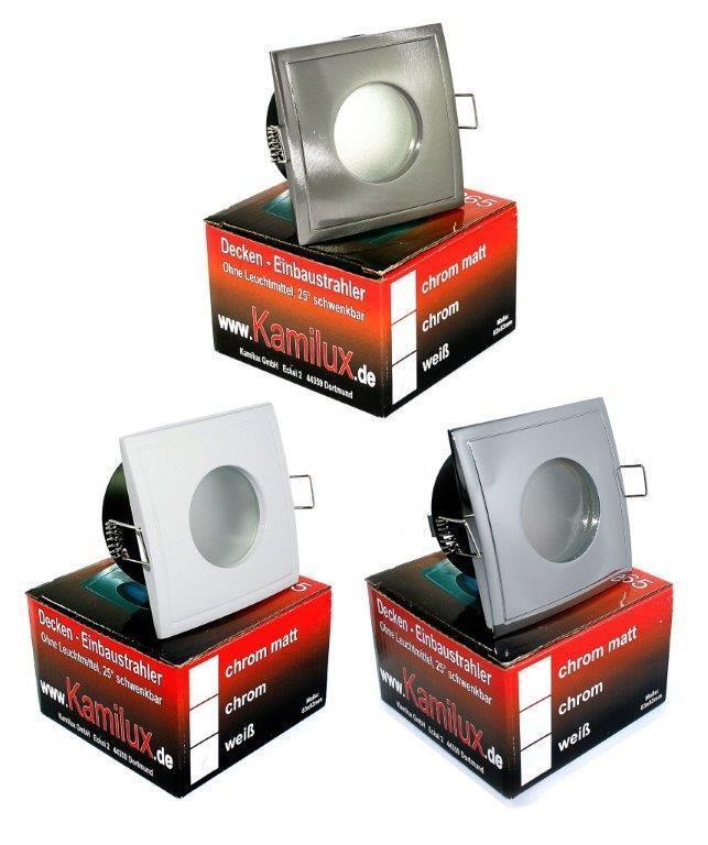 Dimmbar 5W = 50W Power LED GU10 - IP65 Feucht Einbaustrahler AQUA SQUARE 230V