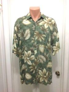 Pierre-Cardin-Mens-Tropical-Hawaiian-Shirt-Rayon-Aloha-Leaf-Print-Green-L