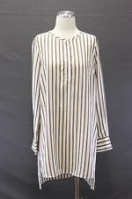 NWT$1345 Brunello Cucinelli Women's 100% Silk Monili Striped Tunic Dress Shirt M
