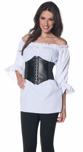 Womens Ruffled Pirate Shirt Renaissance Colonial 3//4 Vampire Blouse XL 18-20