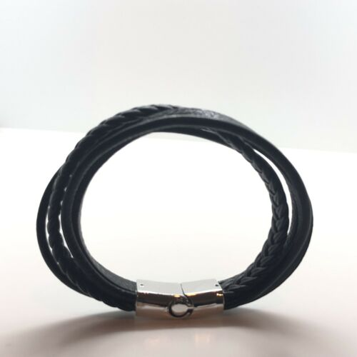 Details about  /Black Leather Mens Bracelet Braided Wrap Bangle Stainless Steel Clasp Aus Seller