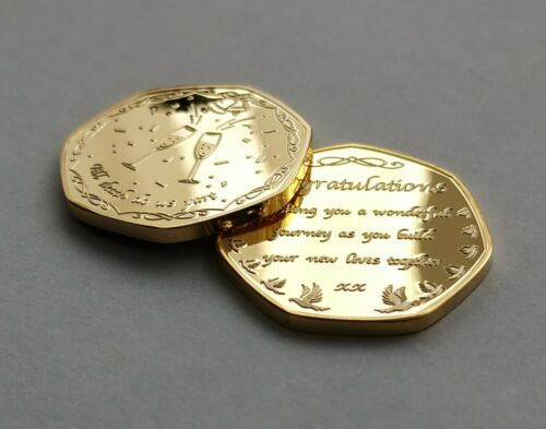 /'Congratulations/' Wedding Gold Plated Commemorative Coin /& Charm GIFT SET //Groom
