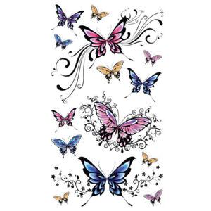 Blume-Schmetterling-Einmal-Tattoos-Schmetterlinge-Temporary-Tattoo-Body-Sticker