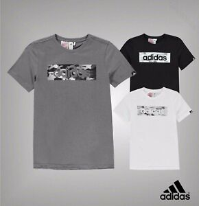 Junior-Boys-Genuine-ADIDAS-manches-courtes-Camo-LINEA-T-SHIRT-TOP-Taille-7-13-Ans