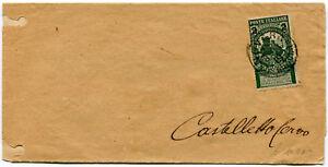 1913-Cinquantenario-Unita-d-039-Italia-2-su-5-cent-Busta-isolato-Castelletto-Cervo