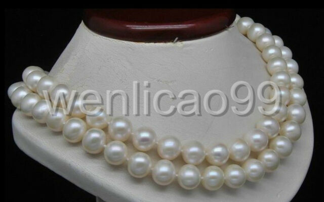 """Double Strand 10-11MM AA+ White Pearl Necklaces (16""""17"""" Long)"""