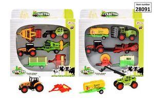 Traktoren-Set-2-Traktoren-Metall-4-Anhaenger-Bauernhof-Spieleset