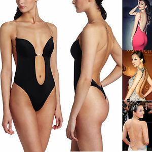 d1a898ed8540f Women s Deep V Bodysuit Thong Convertible U Plunge Body Suit Bridal ...