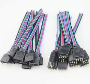 Bulk 4 Pin Female Rgb Connectors Wire Cable For 3528 5050 Smd Led Strip Lights Ebay