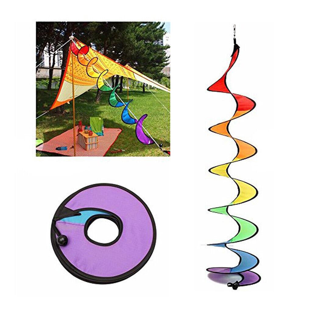 55'' Rainbow Spiral Windmill Windsocks Camping Tent Home Garden Yard Decor