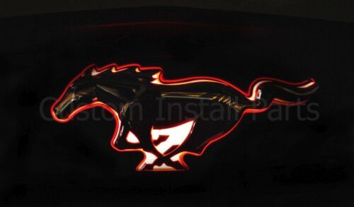 Glow Light Up Red LED Pony Logo Back Plate for Mustang Rear Factory OEM Emblem