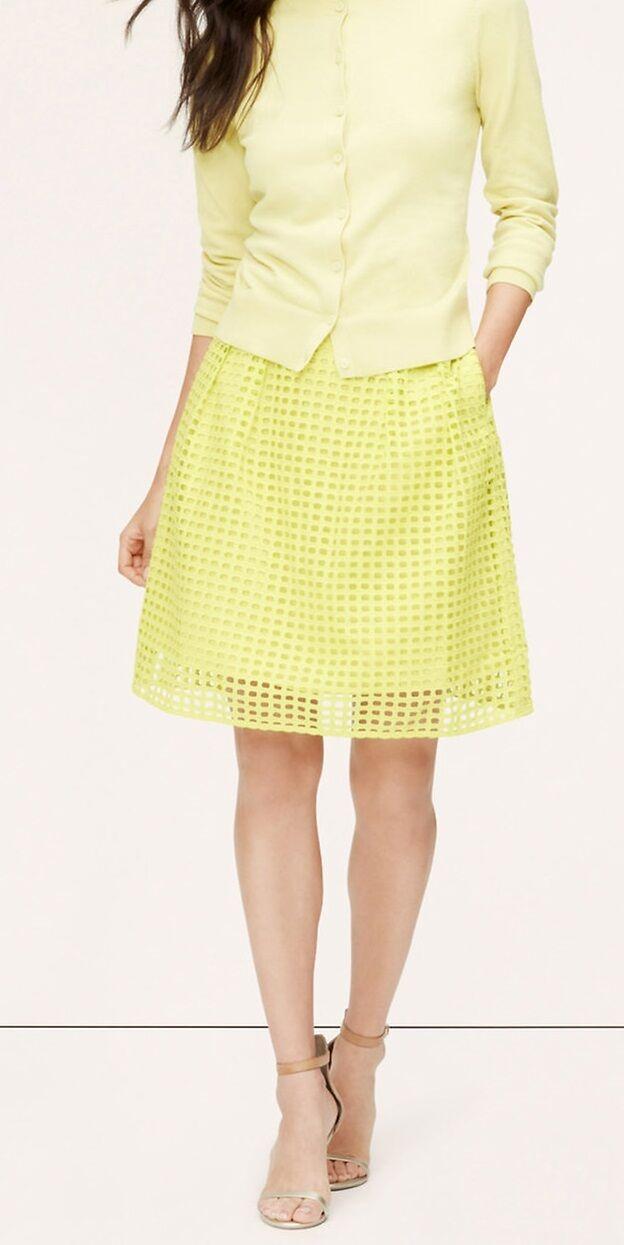 Ann Taylor LOFT Cotton Geo Eyelet Skirt Size 00P, 2P, 6P NWT Spring Citron color