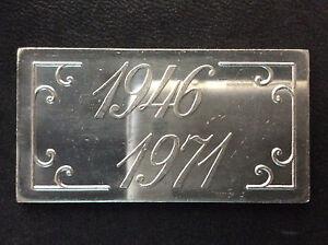 1971-Blissfield-Mfg-Co-Anniversary-20-Grams-Fractional-Silver-Bar-Ingot-A4441