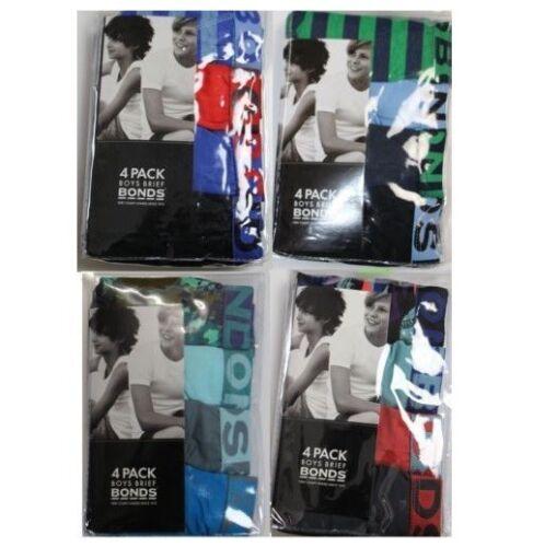 BOYS BONDS 4 PACK KIDS BABY UNDERWEAR PAIRS BLACK BLUE RED GREEN SIZE 2-16