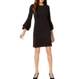 ALFANI-NEW-Women-039-s-Floral-lasercut-Bell-sleeve-Shift-Dress-TEDO