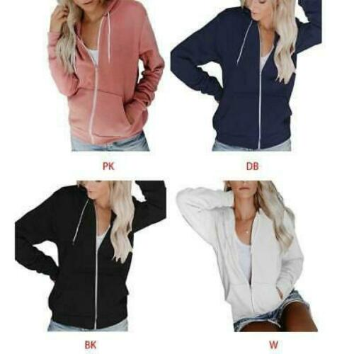 Girls Autumn Long Sleeve Full Zip Hoodie Jacket Solid Color Basic Sweatshirt m