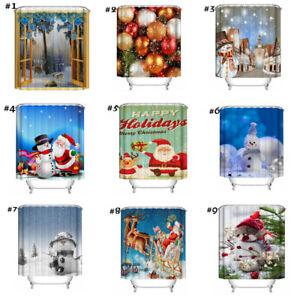 Christmas-Home-Decor-Waterproof-Shower-Bath-Curtain-with-Hooks-Bathroom-Decor