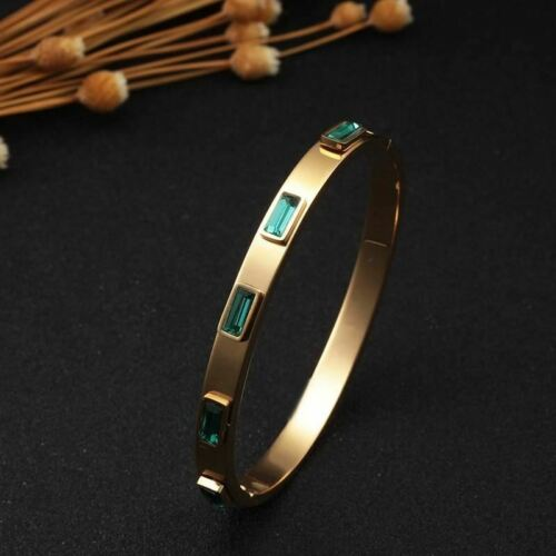 Stainless Steel Open Cuff Bangle Crystal Female Gold Color Charm Screw Bracelet