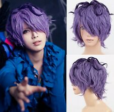 IB Garry Short Curly Purple Mixed Anime Halloween Party Men Cosplay Wig