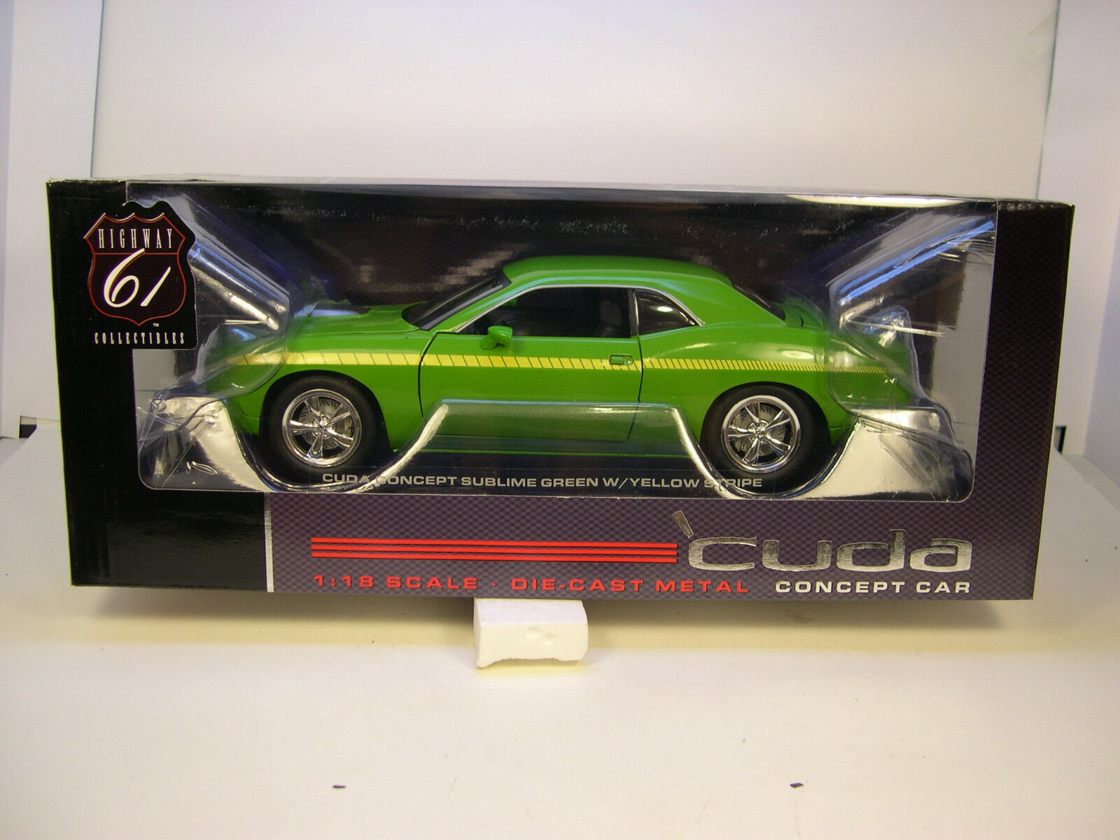 GREEN 2010 PLYMOUTH CUDA CONCEPT CAR HIGHWAY 61 DCP 1 18 SCALE DIECAST MODEL