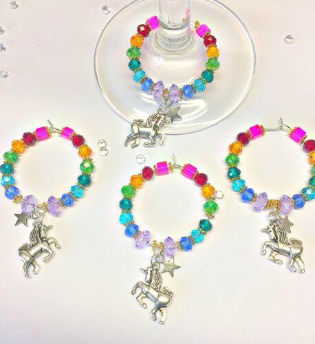 Rainbow Crystal Licorne Verre à Vin Charme 21st 18th Anniversaire poule cadeau pour elle