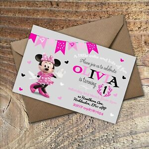 BIRTHDAY-INVITATIONS-Kids-Any-Age-Party-Minnie-Mouse-Personalised-PK-10